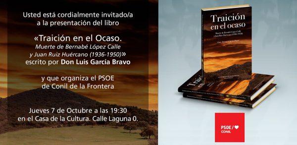 Invitación presentación del libro en Conil